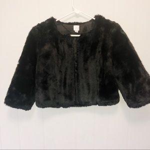 Lauren Conrad Black Faux Fur Shrug Coat